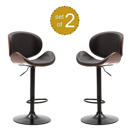 Miraculous Amazon Com P Purlove Swivel Bar Stools Set Of 2 Low Back Machost Co Dining Chair Design Ideas Machostcouk