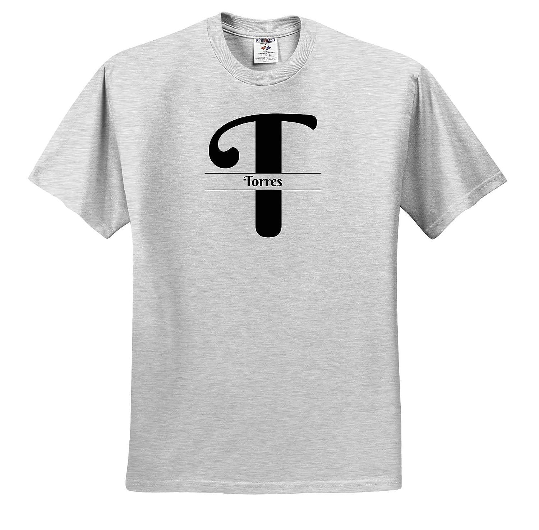 Adult T-Shirt XL Bold Script Monogram T 3dRose BrooklynMeme Monograms Torres ts/_310043