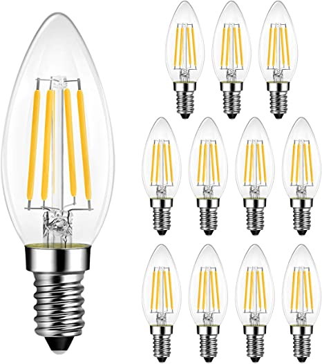 B11 Led Edison Filament Bulb Dimmable 60w Equivalent Lvwit E12 Candelabra Base 2700k Warm White Candle Light Bulb Ul Listed 12 Pack Home Improvement