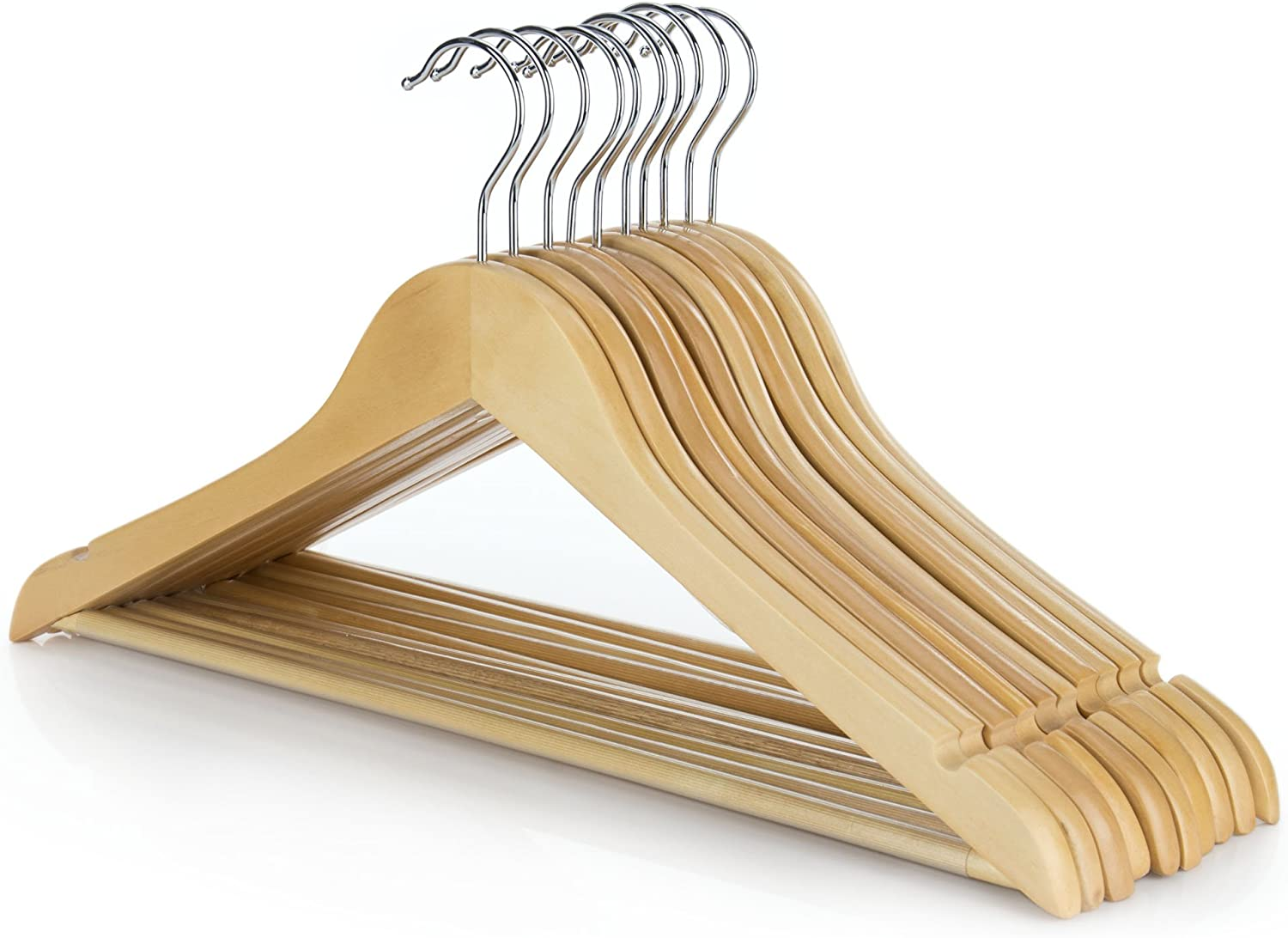 10 Wooden Coat Hangers Suit Garments Clothes Trouser Hanger Bar Notches Set Wood