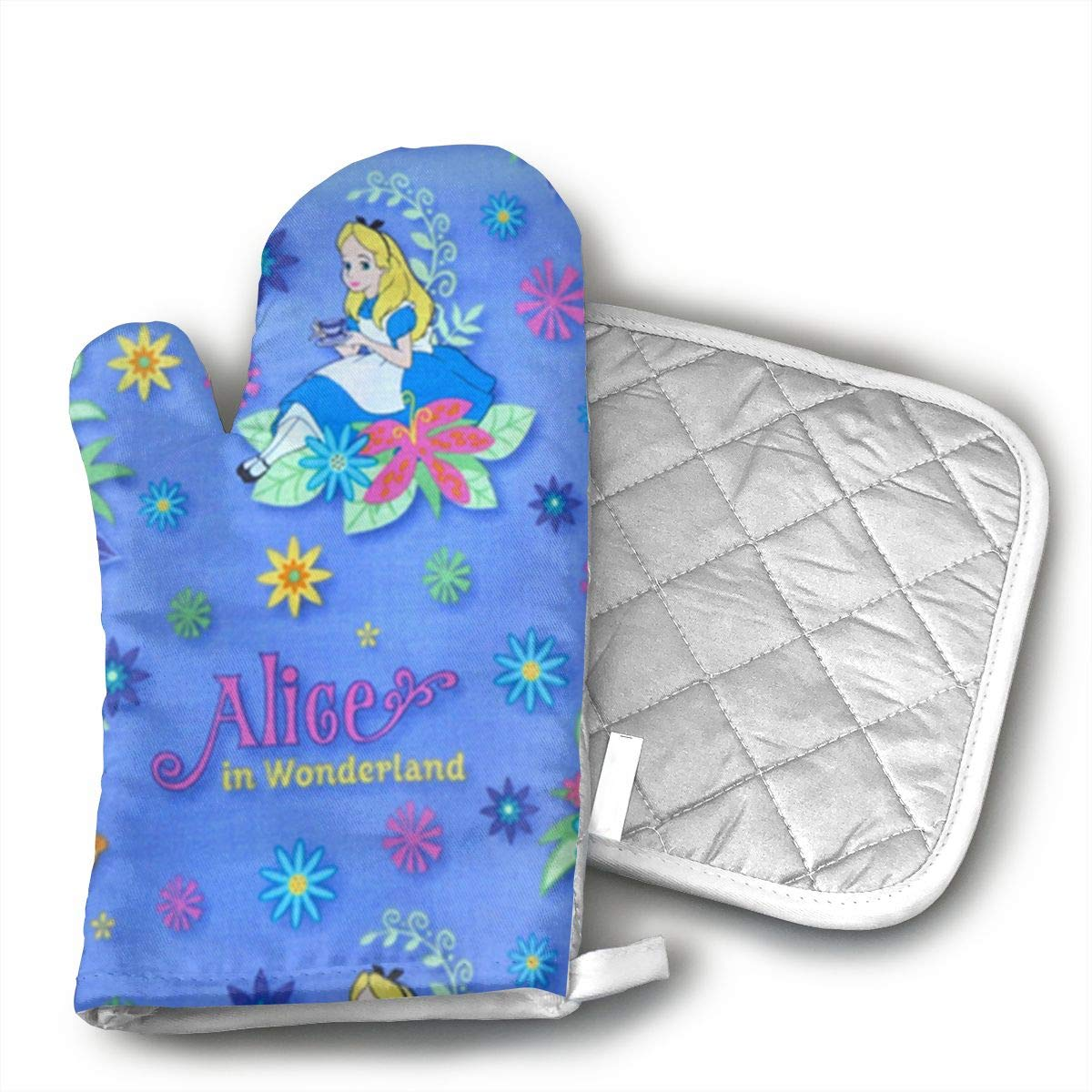 Glovesdkhh Alice in Wonderland Oven Mitts Flame Retardant Mitts Heat Resistant to 425? F 11.8 Inch and Pot Holders