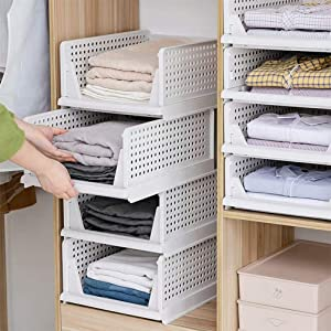 Set of 4 Stackable Closet Wardrobe Storage Box Organizer (Easy Open and Folding), Plastic White Wardrobe Shelves Closet Organiser Box, Pull Out Like a Drawer, Suitable for Home, Bedroom, Kitchen