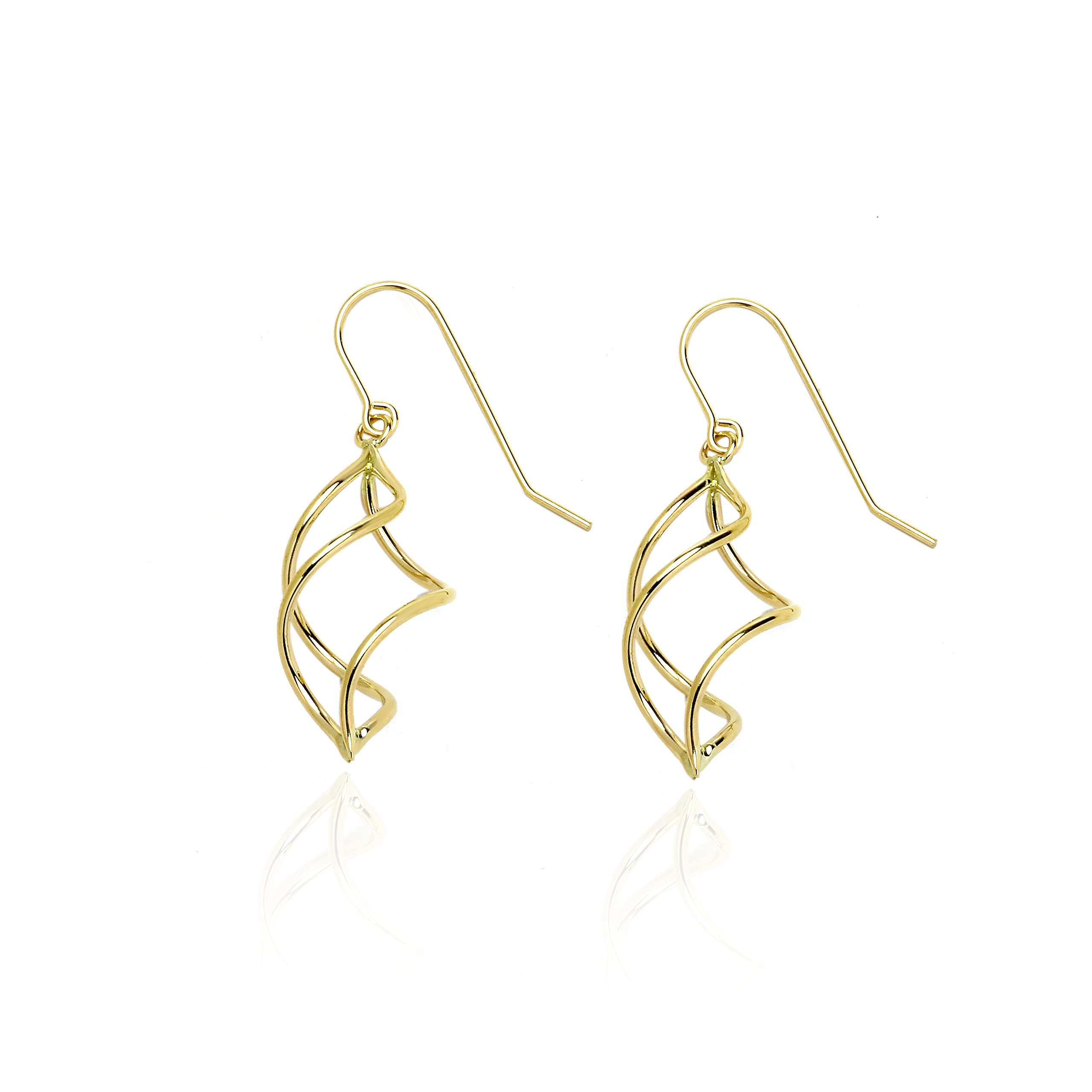 14k Yellow Gold Twisted Pointing Oval Dangle Drop Earring with Fish Hook in Gift Box for Women and Girls