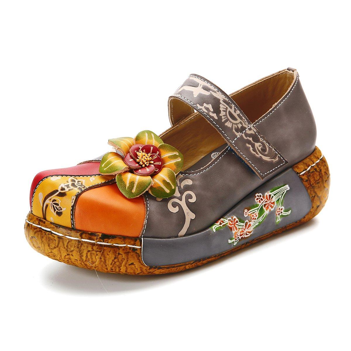 Gracosy Damen Sandalen, Sommer Leder Pantoffel Vintage Slipper Rückenfrei Clogs Bunte Blume Schuhe Weich Komfortabel  41 EU Grau-6