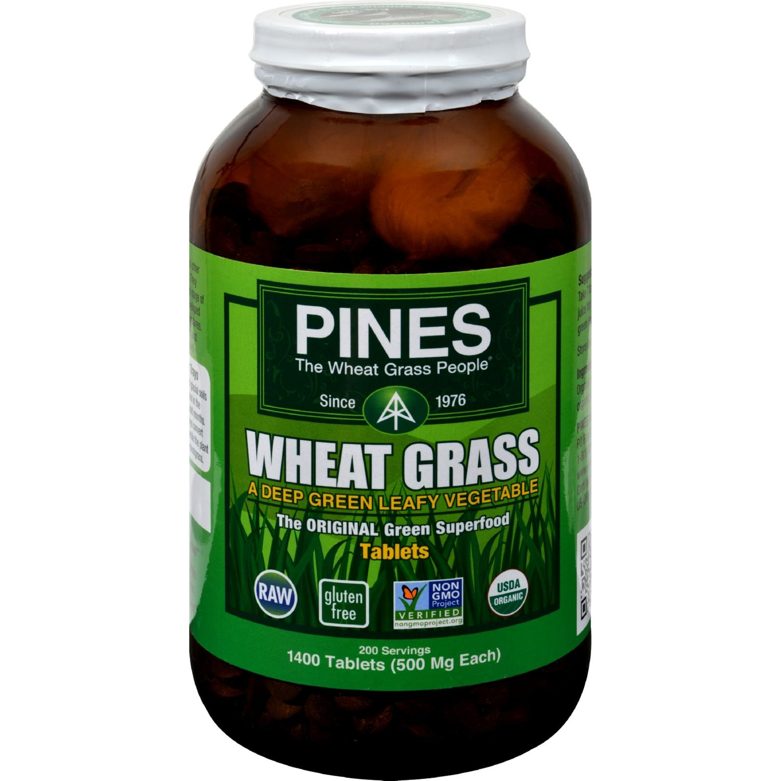 2Pack! Pines International Wheat Grass - 500 mg - 1400 Tablets