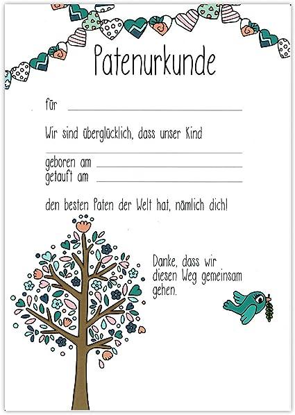Patenurkunde Baum Paten Urkunde Patenbrief Taufurkunde Patenschaft Taufpaten Geschenk Für Patentante Patenonkel Taufgeschenk Vom Patenkind Taufe