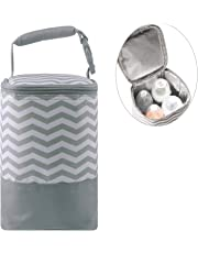 Insulated Baby Bottle Tote Bags - Size Upgrade Breastmilk Storage Bag Multipurpose Baby Bottle Cooler Bag (Gray Wavy Stripes,Fits up to 4 Large 8 Oz. Bottles)