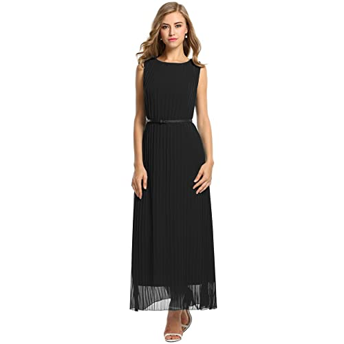 ANGVNS Women Sleeveless Tunic Long Dress Solid Party Maxi Chiffon Dress