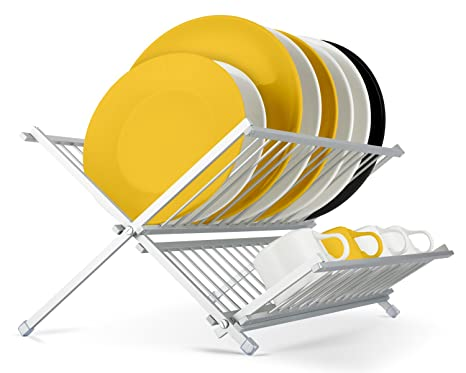 Escurreplatos plegable estante para platos plato escurridor, de 2 niveles, Por miusco, aluminio