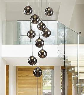 Delicieux CBJKTX Pendelleuchte Esstisch Pendellampe Höheverstellbar Kronleuchter  Hängeleuchte 10 Flammig Aus Glas Drehbar Treppenleuchte Wohnzimmerlampe