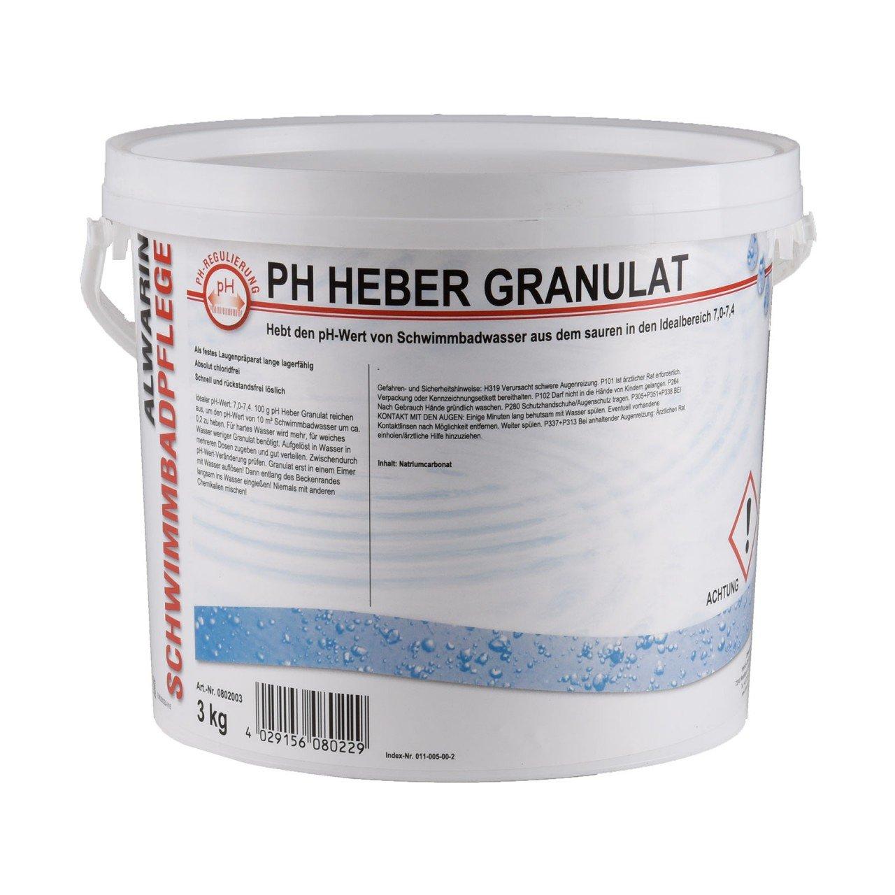 alwarin Piscina Cuidado PH Heber PH Plus Polvo rápido lösliches Medio Para aumentar el de pH en el Pool de agua 1 kg y 3 kg para colectividades: Amazon.es: ...