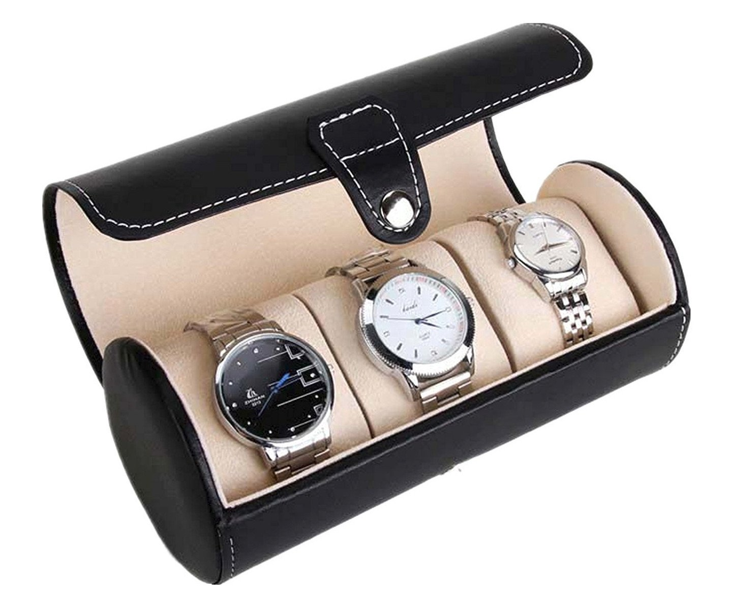 Estuche redondo 3 relojes Negro