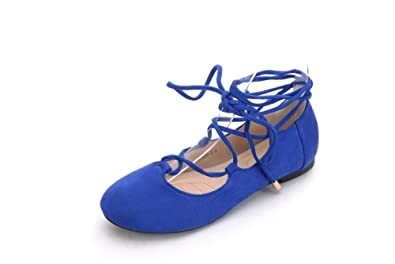 4dc0d249d4b1 Mila Lady Womens Faux Suede Pointed Toe Ankle Strap Lace up Flats Shoes