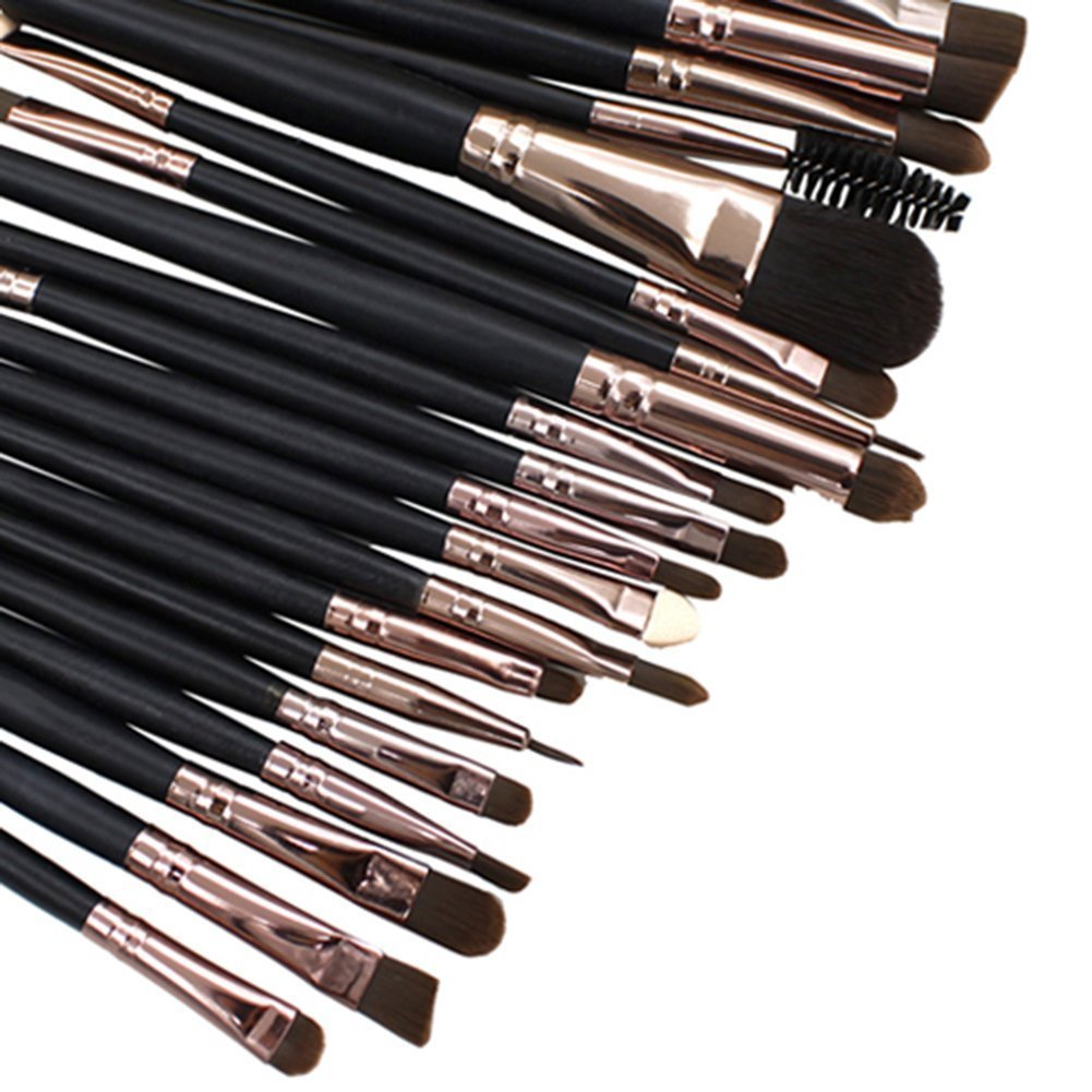 20pcs Make Up Sets Soft Powder Foundation Eyeshadow Eyeliner Lip Makeup Brushes In Black DAYAN