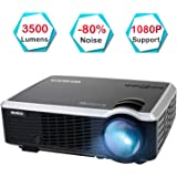 "Projector, WiMiUS 3500 Lumens Video Projector Support 200"" Display Full HD 1080P 50,000 Hours LED Video Projector, Compatible with TV Stick, HDMI, VGA, USB, PS3, Smartphones for Home Theater"