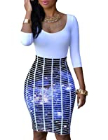 Ninimour Womens Slim Fit Hip Package Print Bodycon Dress