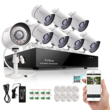 Zmodo Outdoor 720P HD 1,000,000 pixels IP netzwek Cámara Vigilancia 8 Cámaras de vigilancia Juego Exterior 8 canales NVR Videovigilancia Sistema Scan QR ...