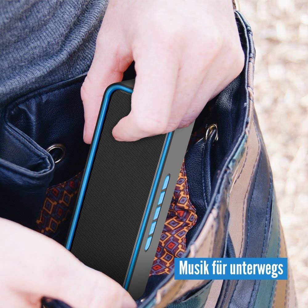 Blau 12 Stunden Spielzeit TWS Bluetooth 5.0-Lautsprecher mit 3D-Stereo-HiFi-Bass 1500-mAh-Akku Kolaura Drahtloser tragbarer Lautsprecher