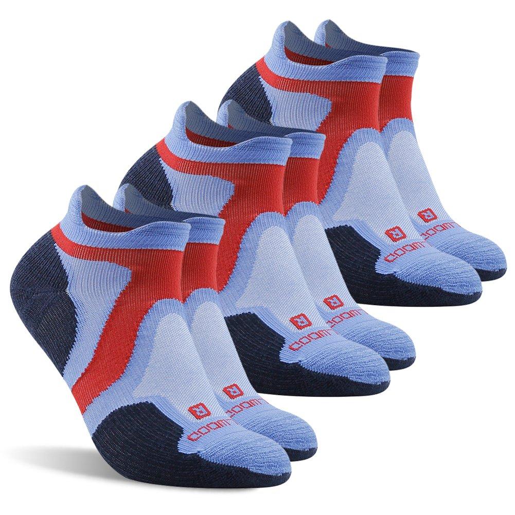 Running Socks Men, ZEALWOOD Anti Blister Running Socks Women and Men Cycling Athletic Golf,Men's Outdoor Trail Sock Merino Wool Cushion Socks Pack of 3,Run Light Sport Socks-Blue/Black, Large by ZEALWOOD