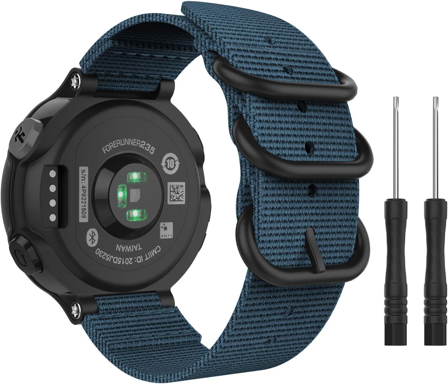 MoKo Correa Reloj Compatible con Garmin Forerunner 235/235 Lite/220/230/620/630/735XT/Approach S20/S6/S5, Pulsera de Reemplazo Ajustable de Nylón - Azul