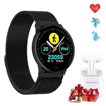 Smartwatch, Reloj Inteligente IP67 y 1.3 Pulgadas Pantalla HD IPS con Pulsómetro, Monitor de Sueño, Podómetro, Calorías Mujer Hombre para iOS y ...