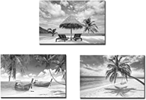Artsbay 3 Piece Black and White Beach Canvas Wall Art Tropical Palm Tree Painting Pictures Ocean Sunset Coconut Poster Print Seascape Artwork for Bathroom Bedroom Living Room Decor Framed