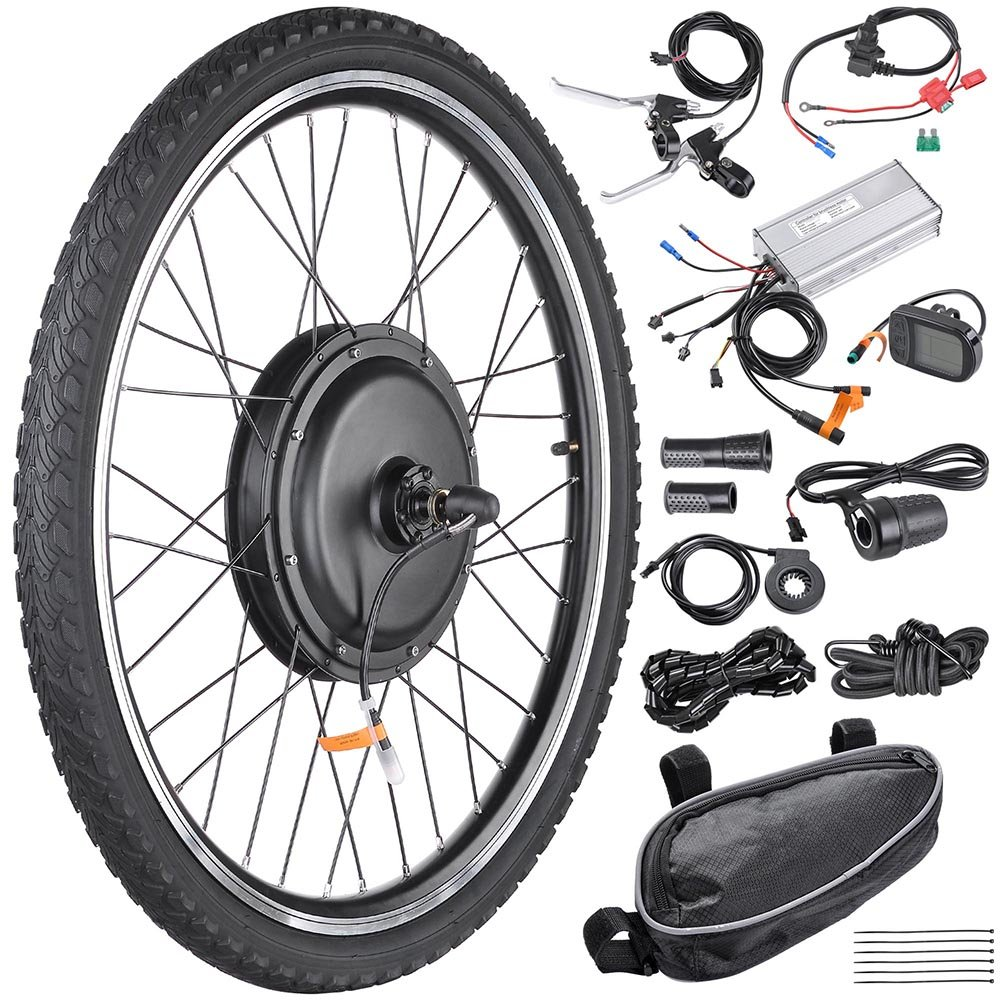 """AW 26""""x1.75"""" Front Wheel 48V 1000W 470RPM Electric Bicycle Hub Motor Speed Control Conversion Kit PAS System Review"""