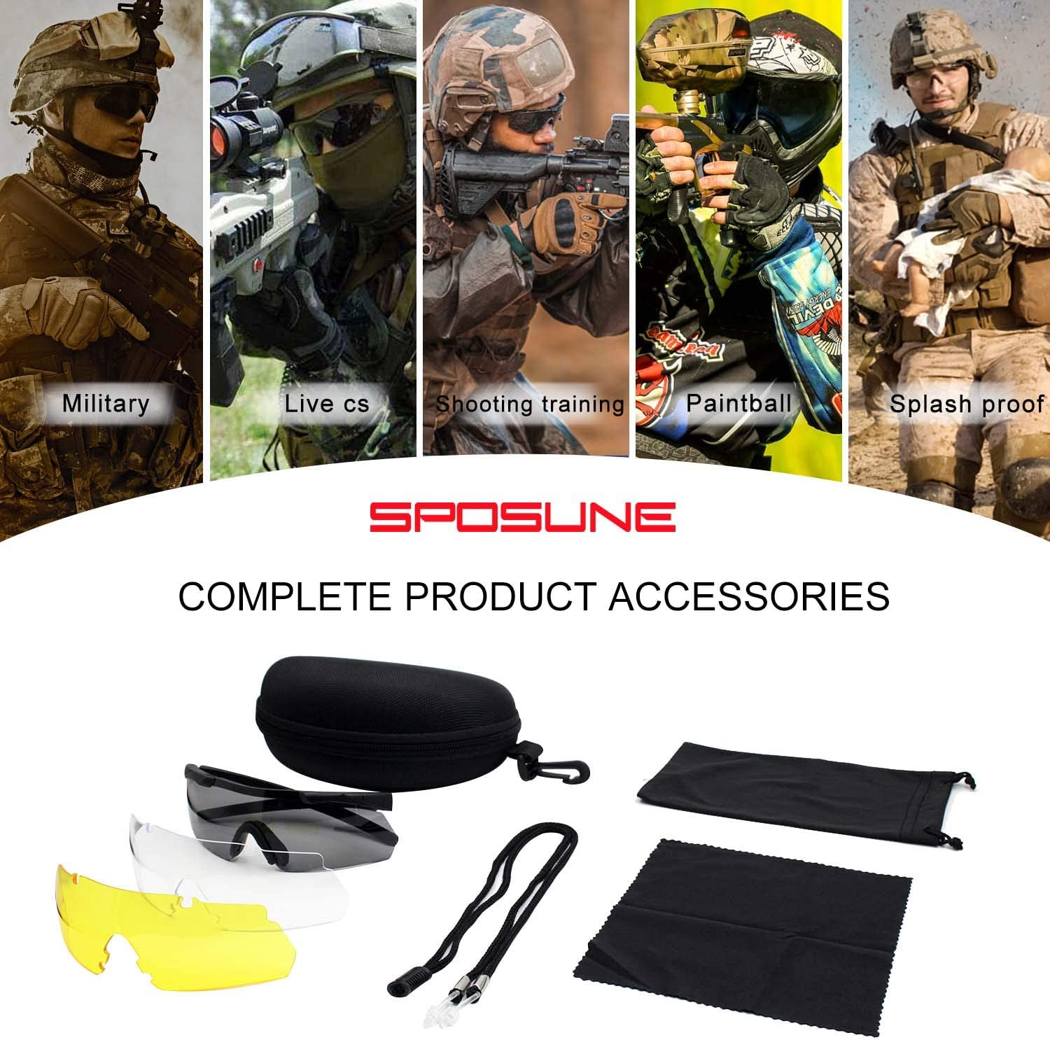 Outdoor Tactical Glasses with 3 Interchangeable Lenses, High Impact resistance Shooting Glasses, Unisex Safety Eyewear - Anti fog UV400 Eye Protection Sunglasses for Hunting Cycling Driving Compact : Sports & Outdoors