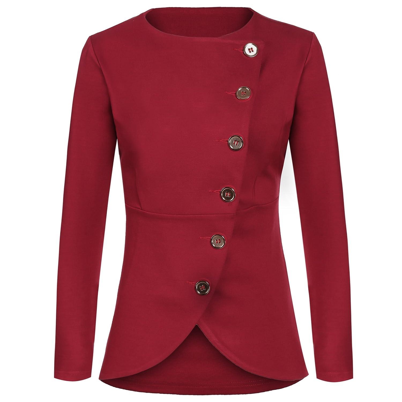 Meaneor Women Single Breast Work Blazer Casual Buttons Up Asymmetric Hem Jacket