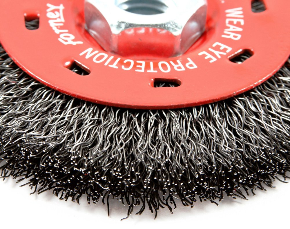 Forney 72788 Wire Wheel Brush, Coarse Crimped with 5/8-Inch-11 Threaded Arbor, 4-Inch-by-.014-Inch by Forney