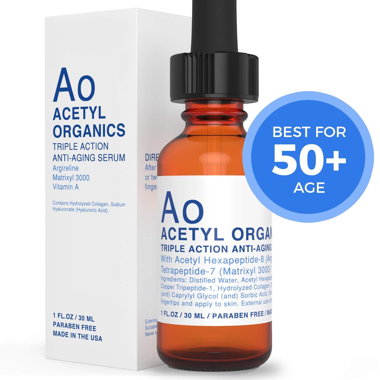 Anti-aging Serum With Argireline (20%), Matrixyl 3000 (20%), Retinyl Acetate (Vitamin A) serum for facial skin. Best Argireline Serum/Cream For Eyes, Wrinkles with Hyaluronic Acid. by Acetyl Organics