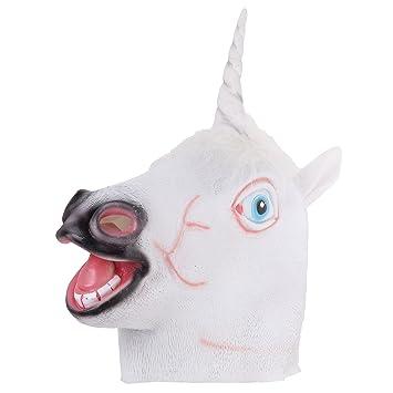 Pinzhi - Novedad Juguete Máscara de Caucho de Cabeza de Unicornio de Decoración para el Partido