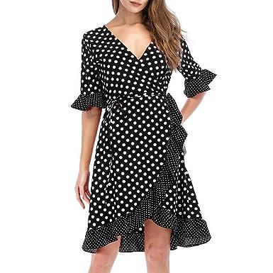 63d37f18e4c01 Longra Damen Vintage Retro Kleid Damen Sommerkleid Knielang Elegant Kleid  mit Allover Polka-Punkt Print V-Ausschnitt A-Linie Kleid Rüschenkante  Wickelkleid ...
