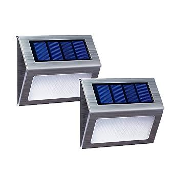 Solarlicht Fur Schritt Deck Stufe Mauer Veranda Zaun Garten Terrasse Warmes Weisses Licht Wasserdicht 2er Pack