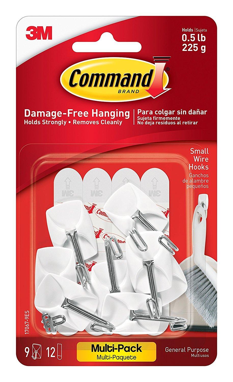3 M Command - Ganchos para utensilios de cocina con comando tiras adhesivas - pequeño, blanco, 9-hooks (17067 - 9ES) con comando utilidad Ganchos Value Pack ...