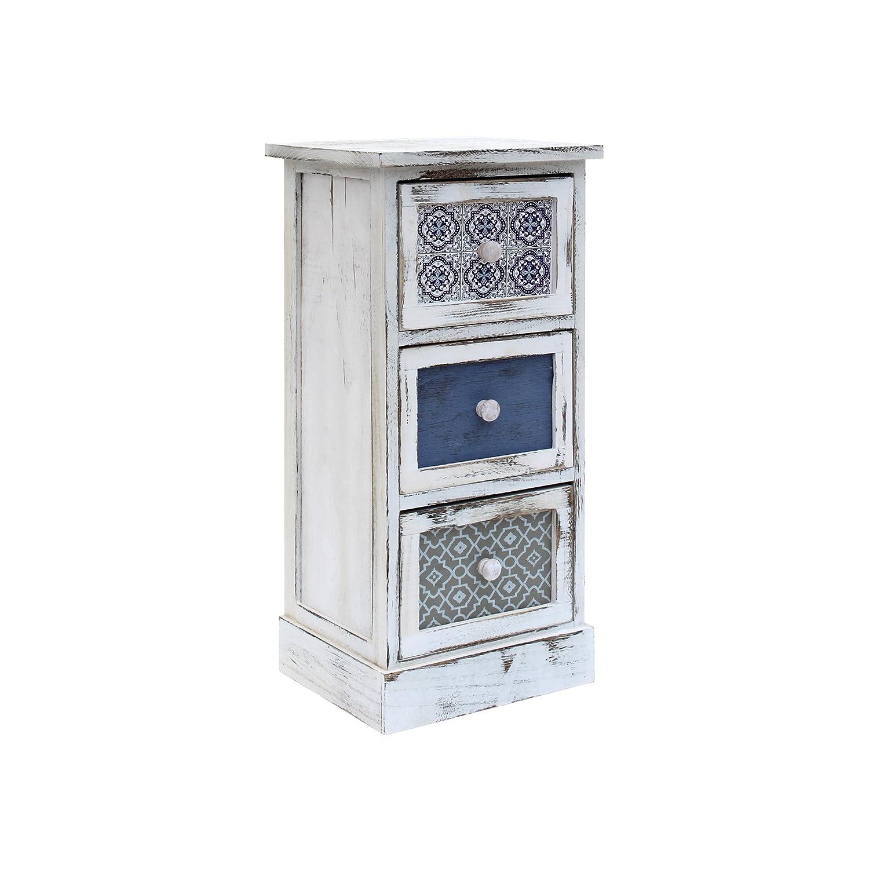 Rebecca Mobili Kommode Schrank 3 Schubladen Holz Weiß Grau Blau Design Vintage Wohneinrichtung Schlafzimmer - 62 x 29 x 25 cm (H x B x T) - Art. RE6081