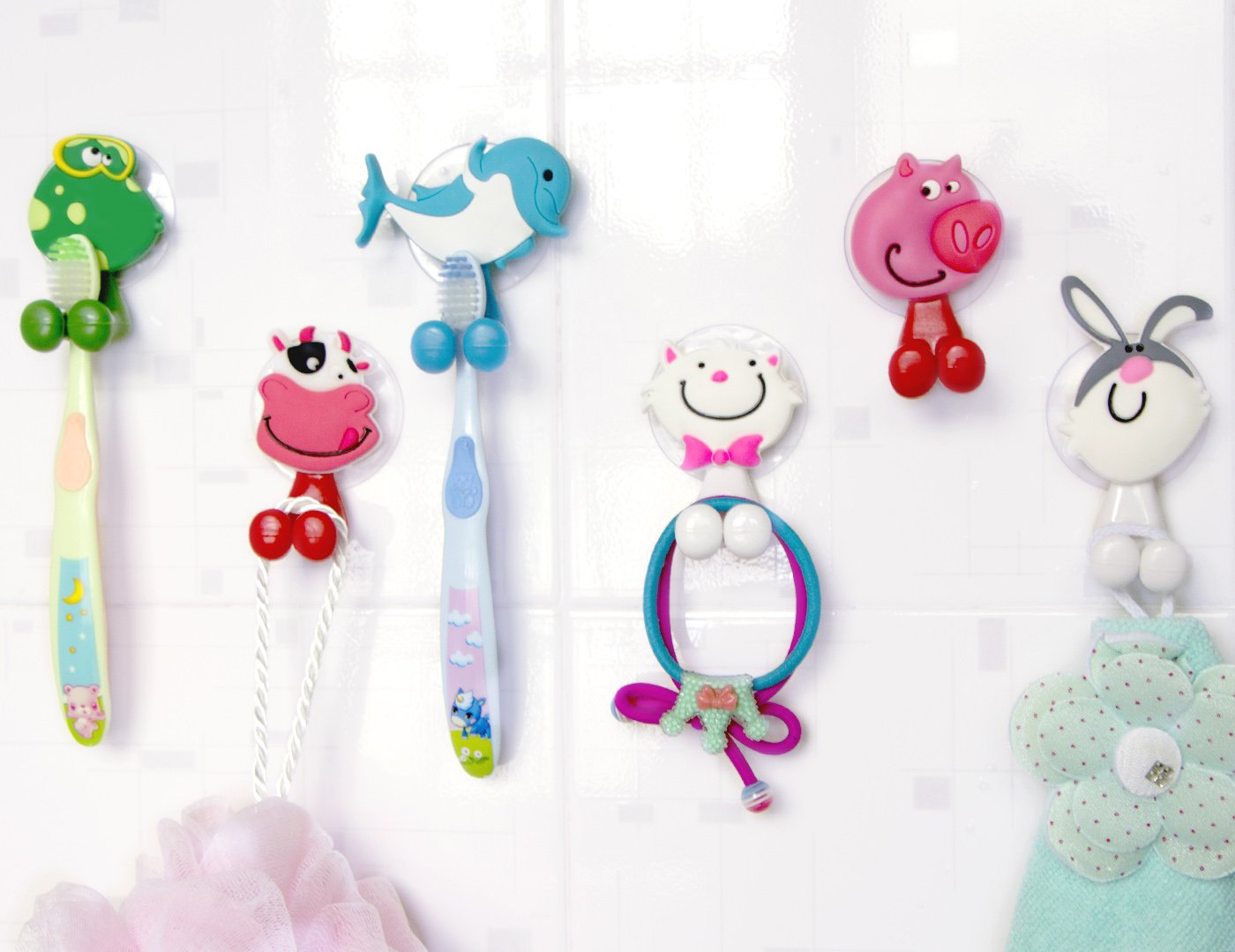 2 Pcs Toothbrush Holder Wall Mounted Suction Cup Cute Cartoon SRKCA