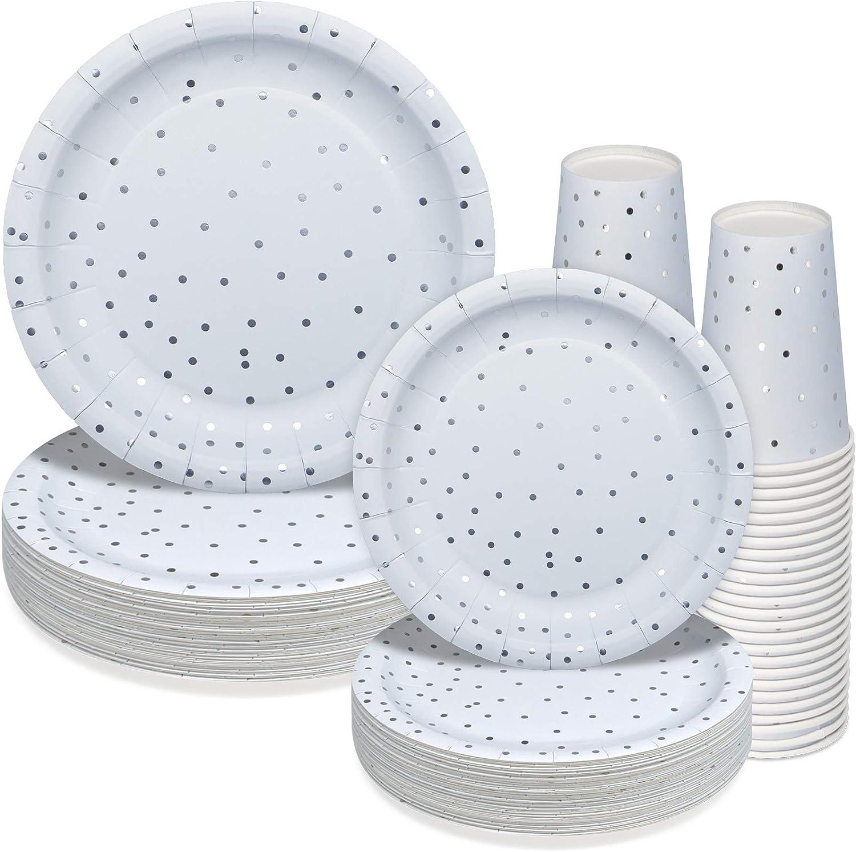 150PCS Silver & Blue Paper Plates-Disposable Dinnerware Set - Birthday Graduation Retirement Thanksgiving Bachelorette Wedding Snowflake Winter Wonderland Party Xmas Holiday Supplies Tableware
