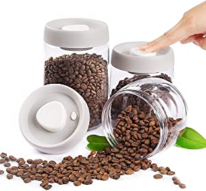 Vacuum Coffee Sugar Storage Containers by GENTEEN-Vacuum Seal containers-Pack of 3-Snack Container-Flour and Sugar Containers-Candy Jar-Plastic Food Containers with Lid for Nut Coffee Cookie