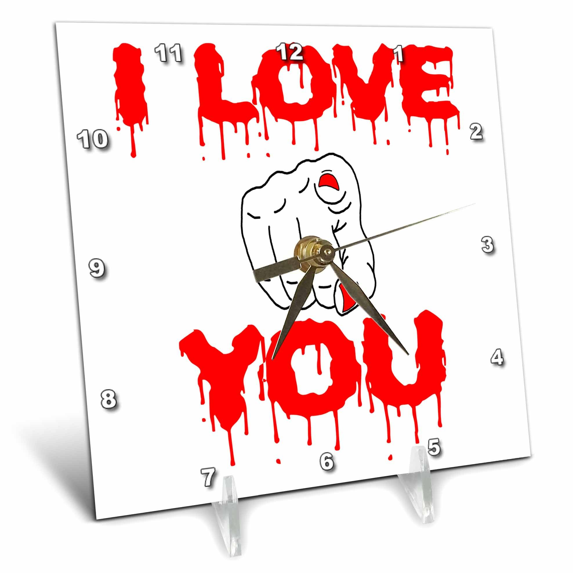 3dRose Alexis Design - Love - I Love You red text, female finger pointed at you on white - 6x6 Desk Clock (dc_272115_1)