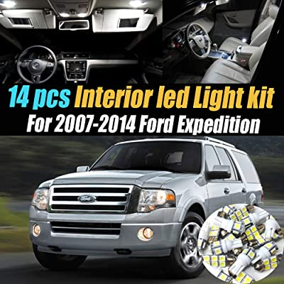 14Pcs Super White 6000k Car Interior LED Light Kit Pack Compatible for 2007-2014 Ford Expedition: Automotive