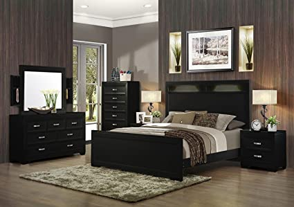 Amazoncom Soflex Ophelia Black Tall Headboard Panel Bedroom Set 6