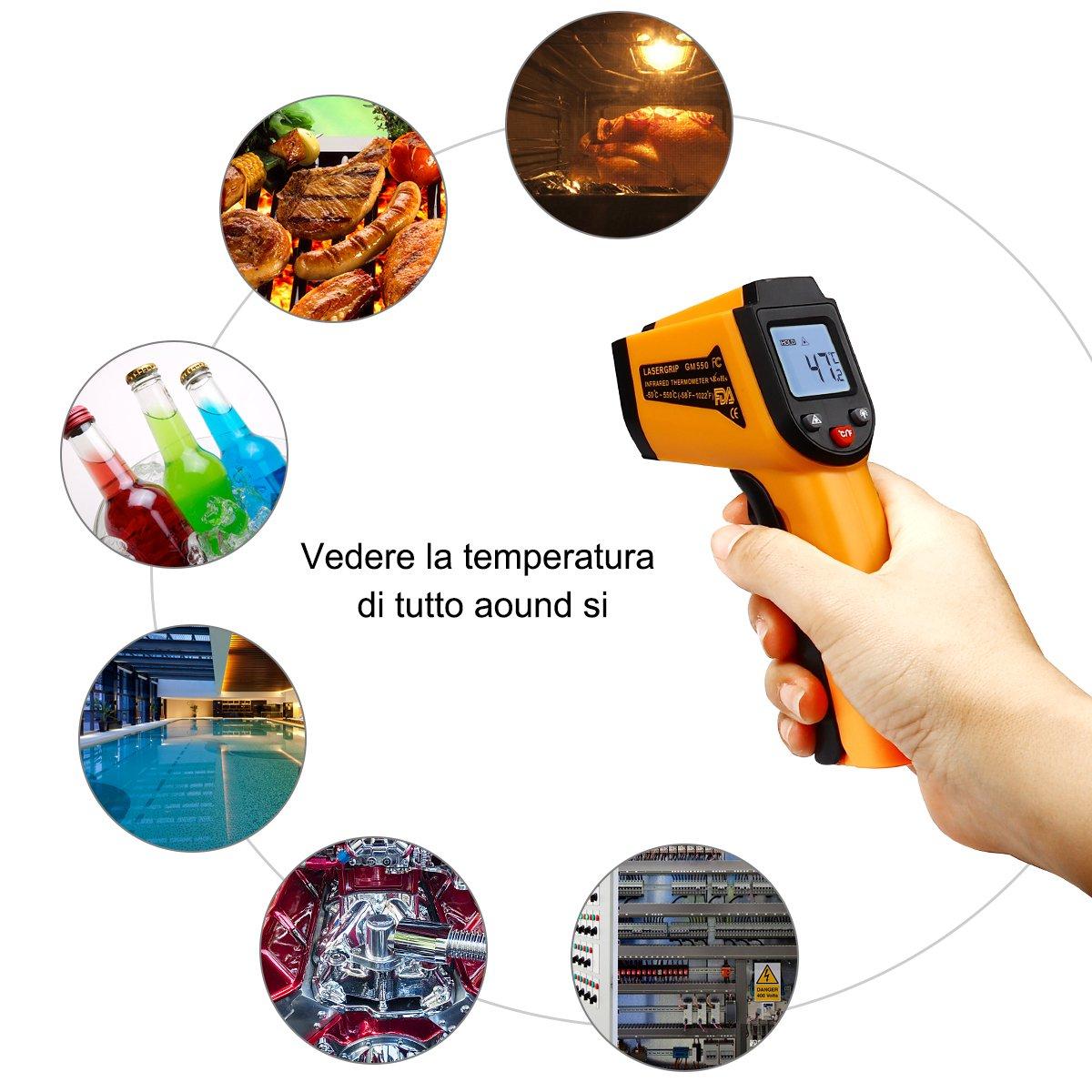 -58 ℉ ~ 932 ℉ Termometro a infrarossi IR5D Laser Termometro Gun-50 ℃ ~ 500 ℃ Senza contatto Emissivit/à Regolabile Ideale per la Cottura//Aria//Frigorifero//Congelatore Carne//Auto// Metro Termometro