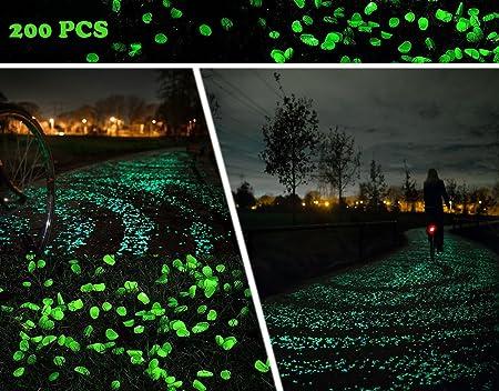 200 Mixed Glow in the Dark Pebbles Stones Luminous for Outdoor Garden Aquarium