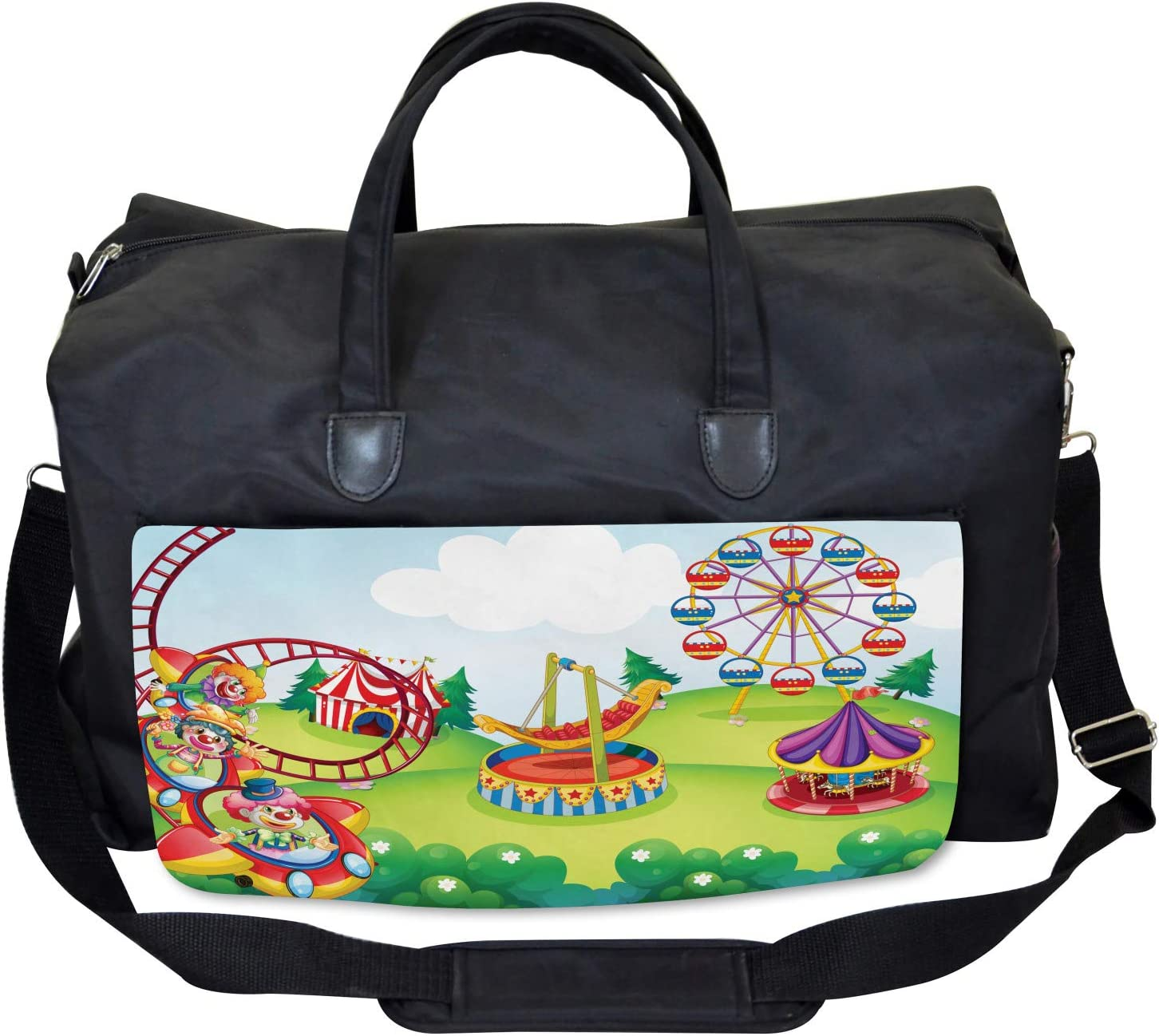 Circus and Theme Park Large Weekender Carry-on Ambesonne Colorful Gym Bag