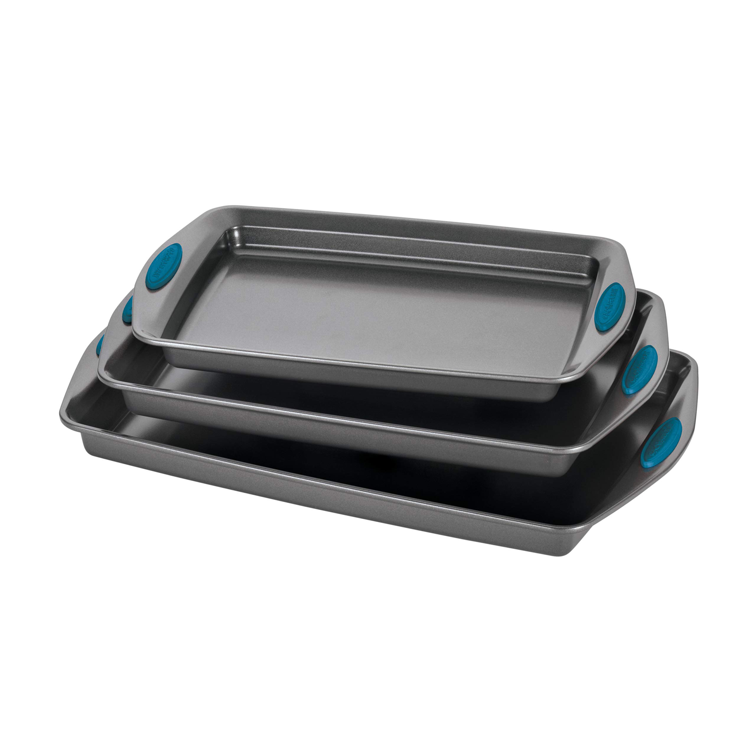 Rachael Ray 47425 Nonstick Bakeware Set with Grips, Nonstick Cookie Sheets / Baking Sheets - 3 Piece, Gray with Marine Blue Grips by Rachael Ray