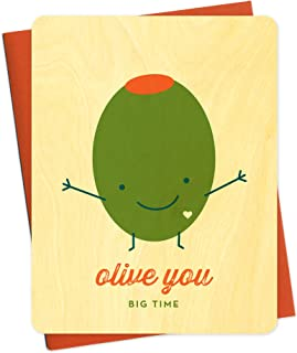product image for Olive You Wood Love Card by Night Owl Paper Goods