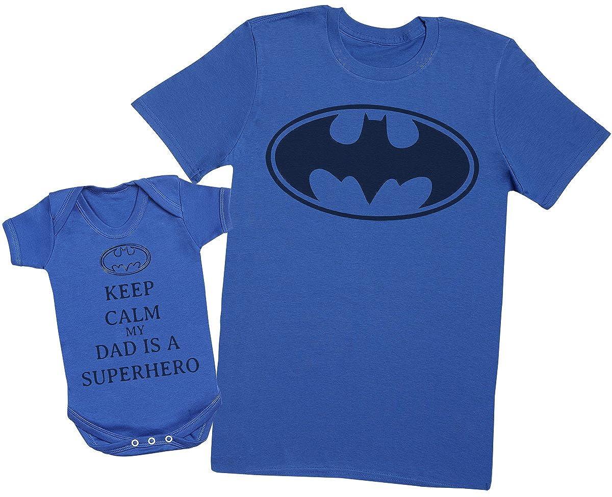 Keep Calm My Dad is A Hero - Passende Vater Baby Geschenkset - Herren T-Shirt & Baby Strampler/Baby Body
