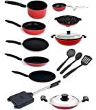 Kumaka Premium Quality 2.6mm Thickness 15 Pcs Non-Stick Cookware Including 3 Nylon Spoons