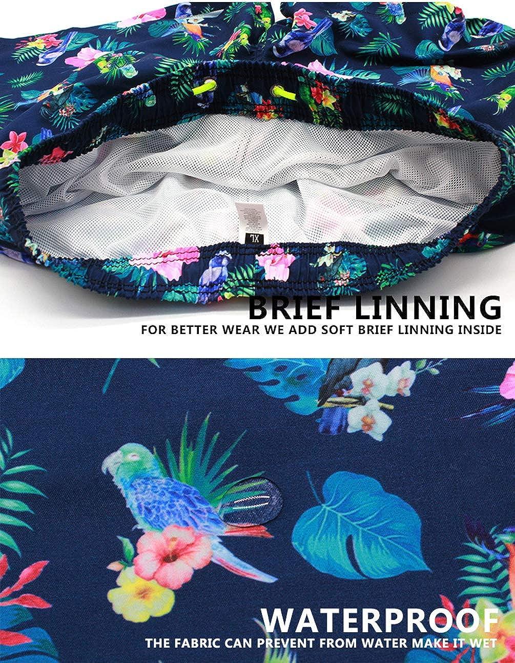 YuanDian Uomo Estate Stampa Bermuda Mare Short da Bagno Calzoncini Loose Fit Traspirante Asciugatura Rapida Impermeabile Surf Pantaloncini Costumi da Bagno Shorts